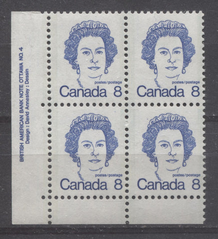Lower left plate block of the 8c Queen Elizabeth II stamp from the 1972-1978 Caricature Issue of Canada showing a single extension hole at the left selvage
