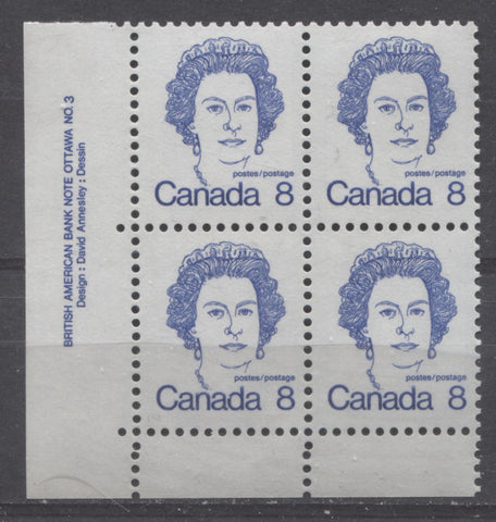 Lower left plate block of the 8c Queen Elizabeth II stamp from the 1972-1978 Caricature Issue showing two comb strikes in the bottom selvage