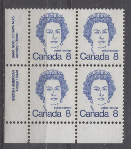 Lower left plate 6 block of the 8c Queen Elizabeth II stamp from the 1972-1978 Caricature Issue showing two comb strikes at the very bottom of the block