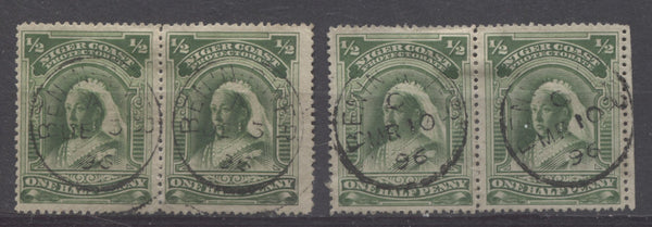 Benin River CDS cancellations on the halfpenny Queen Victoria stamp from the second Waterlow Issue of Niger Coast Protectorate