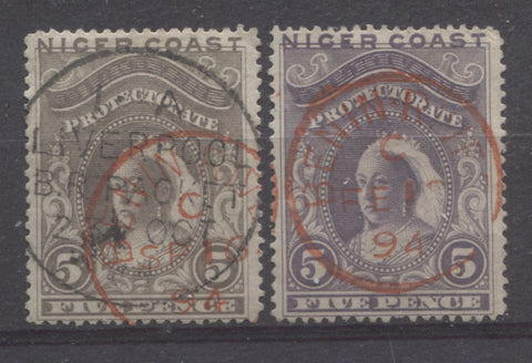Benin River Cancellations on the 5d Queen Victoria stamp from the 1894 Waterlow Issue of Niger Coast Protectorate