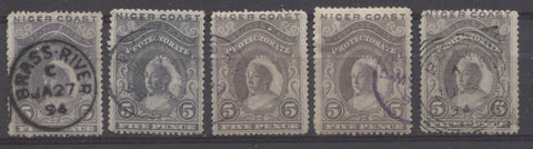 Brass River cancellations on the 5d Queen Victoria stamp from the 1894 Waterlow Issue of Niger Coast Protectorate