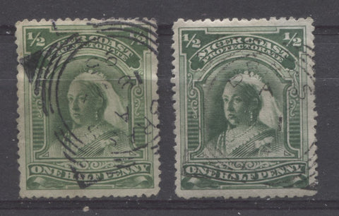 Brass River squarred circle cancellations on the halfpenny Queen Victoria stamp from the second Waterlow Issue of the Niger Coast Protectorate