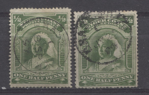 Brass River CDS cancels on the halfpenny Queen Victoria stamp from the second Waterlow Issue of Niger Coast Protectorate