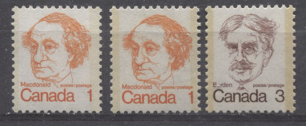 Light, moderate and Dark tagging on the 1c and 3c Macdonald and Borden stamps of the 1972-78 Caricature Issue of Canada