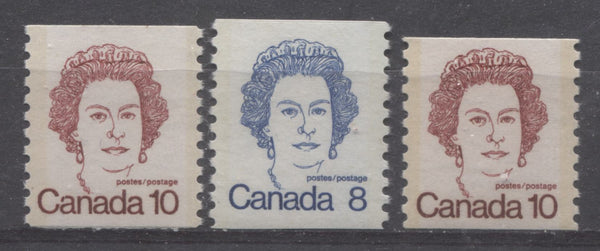 Tagging bars as seen on the 8c & 10c coil stamps of the 1972-1978 Caricature Issue of Canada