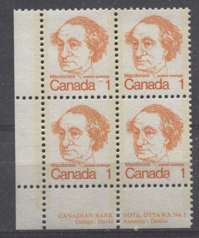 Lower left plate block of the 1c Macdonald stamp from the 1972-1978 Caricature Issue of Canada showing selvage perforated through