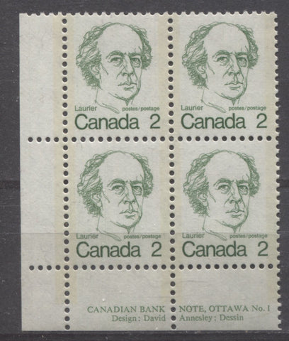 Lower left plate block of the 2c Laurier stamp of the 1972-1978 Caricature issue of Canada, showing short perforated selvage at left