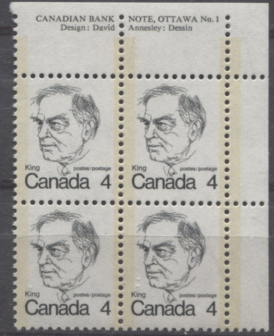 An upper right plate block of the 4c King from the 1972-1978 Caricature Issue showing short-perforated selvage at the top