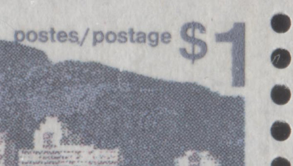 The dot after Postes on the $1 vancouver stamp from the 1972-1978 Caricature Issue of Canada