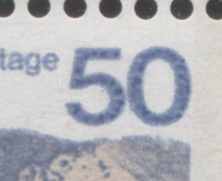 "The dot inside the ""5"" on the 50c Seashore stamp of the 1972-1978 Caricature Issue of Canada"