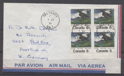 Airmail cover to Germany from 1971, franked with a block of 4 Emily Carr stamps
