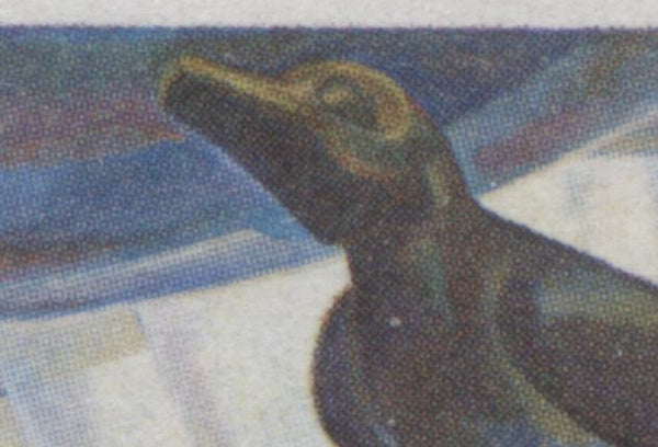 The blue throat on the 1971 Emily Carr stamp of Canada