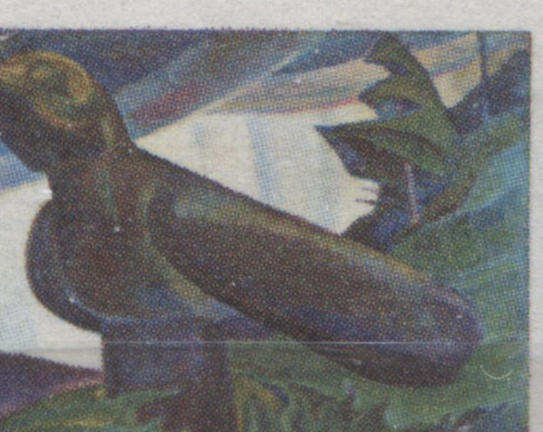 The normal back of the raven from the 1971 Emily Carr stamp of Canada