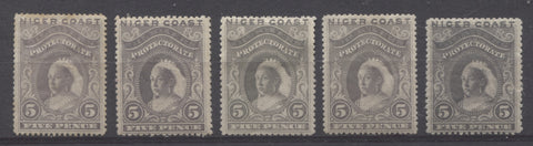 Grey shades on the 5d Queen Victoria stamp from the 1894 Waterlow Issue of Nigr Coast Protectorate