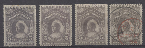 Grey violet and brownish grey shades of the 5d Queen Victoria stamp from the 1894 Waterlow Issue of Niger Coast Protectorate