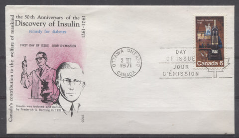 Cole first day cover of the 1971 Insulin Issue of Canada