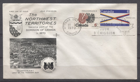 Rosecraft First Day Cover of the 1970 NWT and Manitoba Centenary Issues of Canada