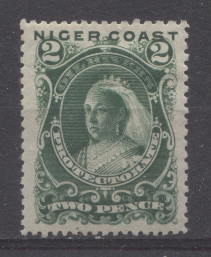 The 2c green Queen Victoria stamp from the First Waterlow Issue of Niger Coast Protectorate