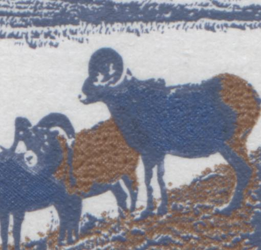 Normal sheep on the 15c mountain sheep stamp from the 1972-78 Caricature Issue of Canada