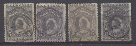 Old Calabar River CDS cancellations on the 5d Queen Victoria stamp from the 1894 Waterlow Issue of Niger Coast Protectorate