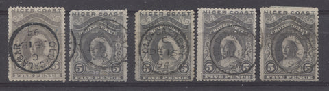 Old Calabar CDS cancel on the 5d Queen Victoria stamp from the 1894 Waterlow Issue of Niger Coast Protectorate