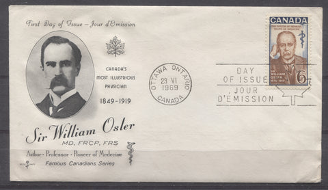 Rosecraft first day cover for the 1969 William Osler Issue of Canada