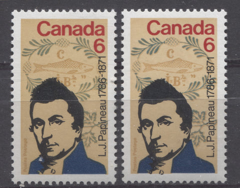 Two shades of the 1971 Papineau stamp of Canada