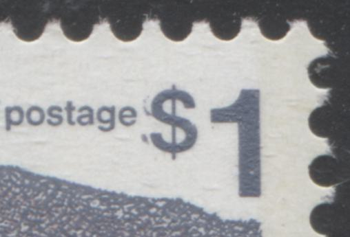 Partially doubled dollar sign on the $1 vancouver stamp from the 1972-78 Caricature Issue