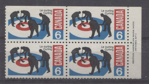Plate block of the 1969 Curling stamp of Canada
