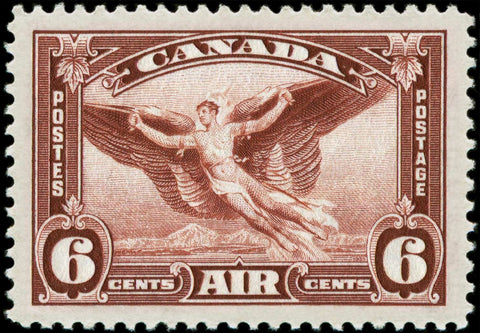 6c red brown airmail stamp from the 1935-1937 Dated Die Issue with moulting wing variety