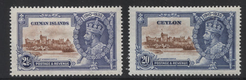 Two shades of blue on the 1935 Silver Jubilee issues for Ceylon and Solomon Islands