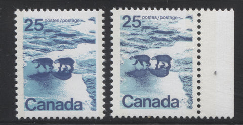 Types 1 and 2 examples of the 25c Polar Bears stamp from the 1972-1978 Caricature Issue of Canada
