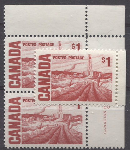 Carmine red and deep scarlet shades of the $1 Edmonton Oilfield stamp from the 1967-1973 Centennial Issue of Canada