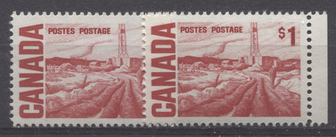 Deep scarlet and scarlet shades of the $1 Edmonton Oilfield stamp from the 1967-1973 Centennial Issue of Canada