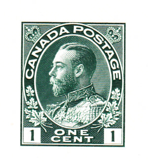 1c Green die proof from the 1911-1928 Admiral Issue of Canada