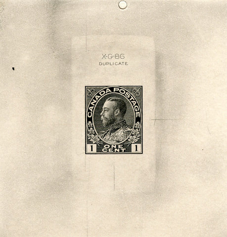 Trial colour proof of the 1c green King George V stamp of the 1911-1928 Admiral Issue of Canada