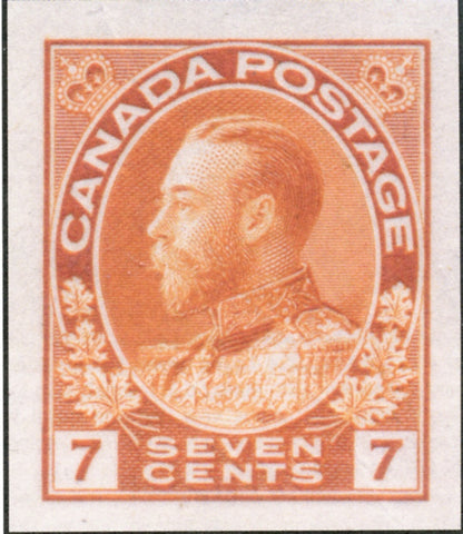 Orange trial colour proof of the 7c King George V stamp of the 1911-1928 Admiral Issue of Canada