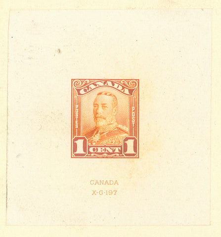 1c orange large die proof of the King George V stamp from the 1928-1929 Scroll Issue of Canada