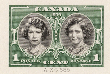 1c black and green die proof of the 1939 Royal Visit issue