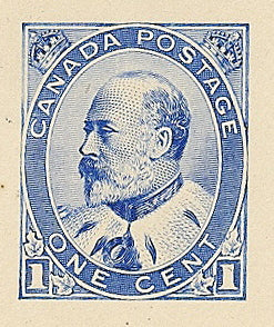 Essay for the Canadian 1c King Edward VII Stamp in blue