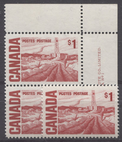 Scarlet and carmine-red shades of the $1 Edmonton Oilfield stamp of the 1967-1973 Centennial Issue