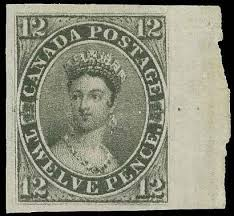 12d Black stamp of Canada from 1851