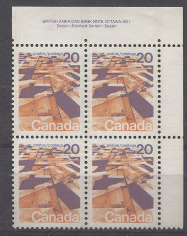 Upper right plate block of the 20c Praries stamp from the 1972-78 Caricature Issue of Canada showing single extension hole in upper selvage