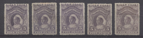 Lilac shades on the 5d Queen Victoria First Waterlow Issue of Niger Coast Protectorate
