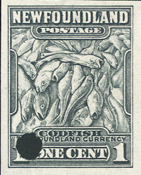 Plate proof of the 1c black codfish stamp of Newfoundland showing a security punch
