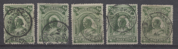 Old Calabar River CDS cancellations on the Halfpenny Queen Victoria stamp from the second Waterlow Issue of Niger Coast Protectorate