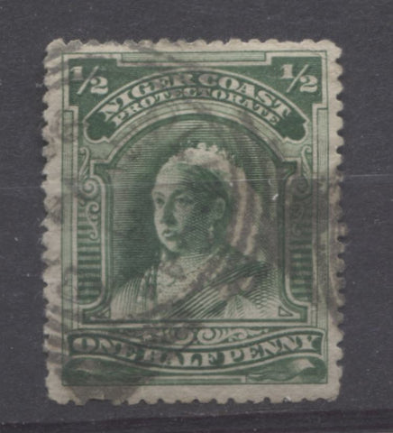 Old Calabar River squared circle on the halfpenny Queen Victoria stamp from the Second Waterlow Issue of the Niger Coast Protectorate
