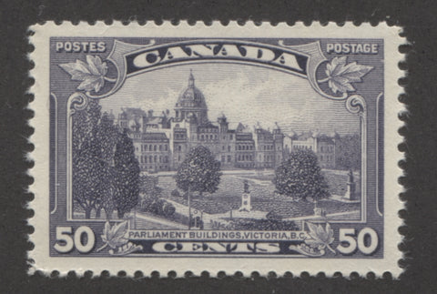 The 50c violet parliament buildings stamp from the 1935-1937 Dated die Issue showing the major re-entry