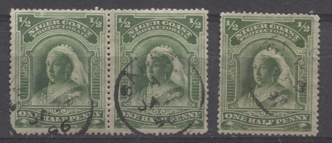 Sapelle CDS cancels on the halfpenny Queen Victoria stamp from the second Waterlow Issue of the Niger Coast Protectorate